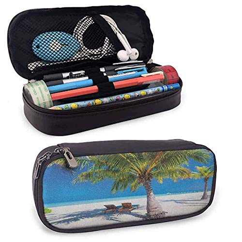 XCNGG Beach Pen Pencil Stationery Case, Tropical Island with Palm Trees Sunbeds Paradise Relaxation Summer Picture for Kid, Teen Student, Boy, Girl or Adult for Men, Women Green Blue White
