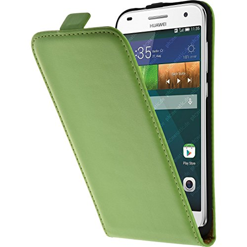 PhoneNatic Kunst-Lederhülle kompatibel mit Huawei Ascend G7 - Flip-Hülle grün + 2 Schutzfolien