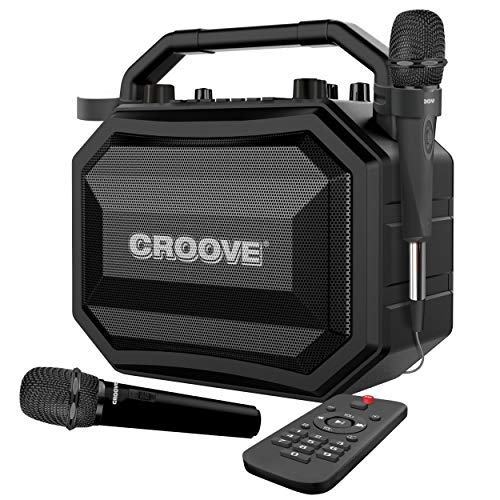 Portable Karaoke Machine Party Box with Bluetooth/AUX/USB/SD Card Connectivity, 2 Wireless & Wired Microphones, and Advanced Audio Controls