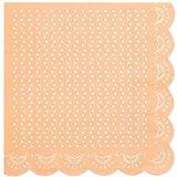 InviteMe 20 tovaglioli di carta con perline bianche in pizzo e bordo ondulato in arancione pastello 'White Lace'