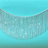 Yhsheen 1 Yard 5.3'-5.8' Irregular Width, Rhinestone Fringe Trim Crystal Fringe Chain Rhinestone Applique for Sewing Crafts Wedding Party Decoration & Bridal Dress with Irregular Width Fashion Shape