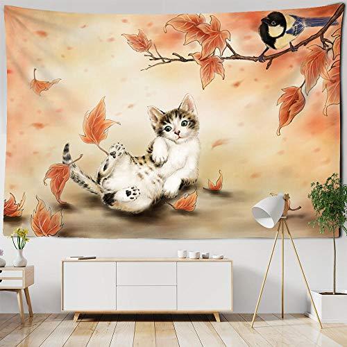 Dibujos animados lindo gato tapiz hojas de arce colgante de pared para habitación de niños dormitorio decoración tapiz animales coloridos alfombras de pared 150x200cm