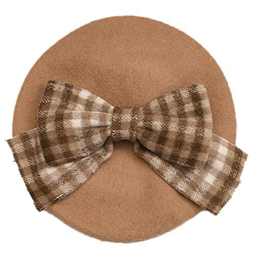 Invierno lindo boina mujeres nueva moda británica retro arco grande pintor sombrero niña mujer gorros al por mayor 2021 (color: 06, tamaño del sombrero: 56-58 cm sin peluca)