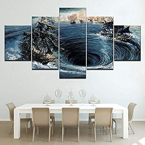 5 Gemälde Auf Leinwand Wellen Riesige Whirlpool 5 Stück Tapeten Moderne Modulare Plakatkunst Leinwand Gemälde Für Wohnzimmer Wohnkultur - Fünf Stück Gemälde-Outer frame