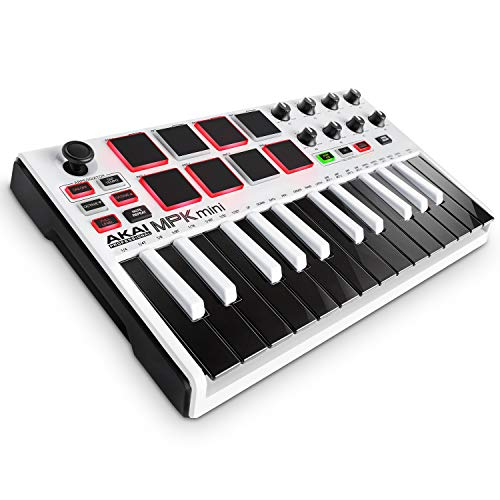 Akai Professional MPK Mini White, Limited Edition 25-Key Portable USB MIDI Keyboard With 8 Backlit Performance-Ready Pads, 8-Assignable Q-Link Knobs, MPK Mini (A A 4-Way Thumbstick)