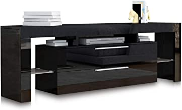TV Stand Entertainment Unit Wood Storage 2 Drawers Cabinet Living Room Furniture Black 160CM