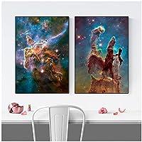 キャンバスアート、宇宙写真ギャラクシーポスター宇宙抽象的な壁の写真リビングルームの装飾フレームなし