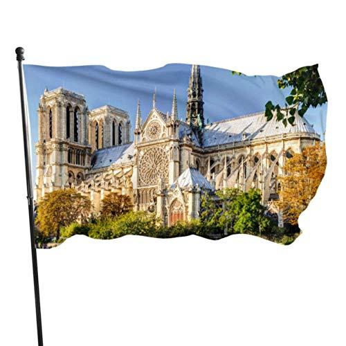 JDQP Belle Notre Dame De Paris Drapeaux Drôles pour Adultes Drapeaux Décor pour Extérieur 3x5 Pieds Couleurs Vibrantes Qualité Polyester et Oeillets en Laiton