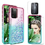 Venoro Compatible with Samsung Galaxy A02S Case Bling Sparkly with Screen Protector Camera Lens Film Full Body Liquid Protective Flowing Crystal Case Cover for Women Girls (Pink) (A02S, 6.5inch)