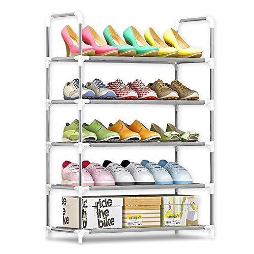 IBEQUEM Zapatero con 5 niveles, color plateado y gris, zapatero, apilable y ajustable, organizador de zapatos de tela no tejida, para salón, vestidor (90 x 60 x 30 cm)