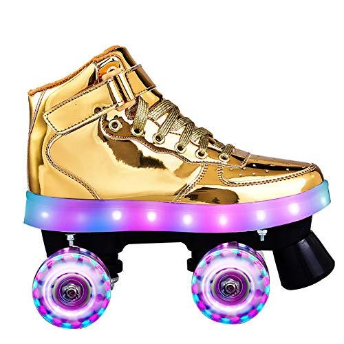 XIHAI Rollschuhe Damen Zweireihige 4 Räder Spiegeloberfläche Rollschuhe Herren Reflective Perforiert Atmungsaktiv Rollerblades Vollblitz USB-Aufladung Kinder Rollerblades für Erwachsene,Gold,43