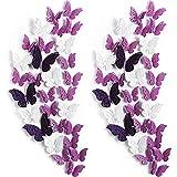 120 Piezas 60 Pares de Pegatinas de Mariposas Extraíbles Decoración de Pared de Mariposa 3D en Capas Calcomanías Murales Huecas Artesanías de Arte de Pared Decorativa DIY (Blanco, Morado)