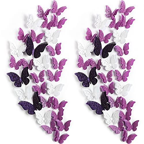 120 Stücke 60 Paare 3D Geschichteten Schmetterling Wand Dekoration Abnehmbare Schmetterling Aufkleber Hohle Wandtattoos DIY Wandkunst Handwerk für Babyzimmer Hause Hochzeit (Weiß, Lila)