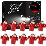 Grandview 10pcs Rojo T5 Bombillas LED SMD-1-5050 B8.5 Para el Coche del Velocímetro del Tablero de Instrumentos Instrumento Medidor de Garantía a Base de Indicadores de Luz de 2 Años