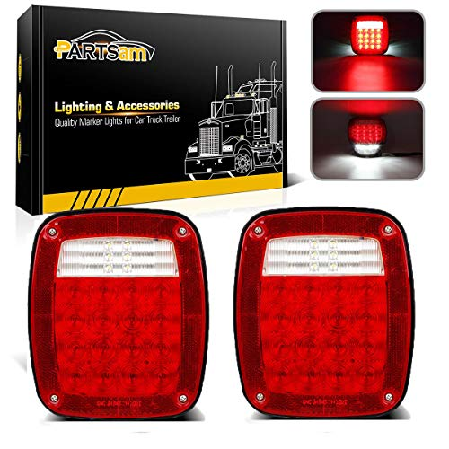 Partsam Pairs 38 LED Jeep Style Universal Tail Brake Turn Stop Licence Back up Reverse Lights Replacement for Jeep YJ TJ JK CJ Truck Trailer Boat RV,12V Stud Mounted Lamps Waterproof,Pack of 2