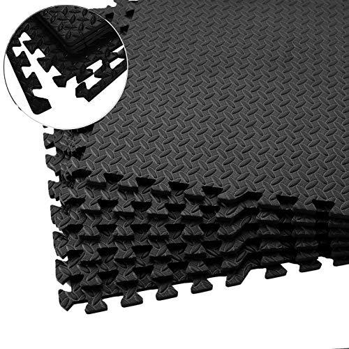 Fitgenics Bodenschutz Matten 20er Set Puzzlematten Schutzmatten Fitness Matte Trainingsmatten wasserdichte Anti-rutsch Bodenauflagen Gymnastikmatten Unterlegmatten für Pool Fitnessgeräte (Schwarz)