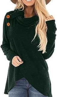 Autumn Winter Women Sweatshirt Button Turtle Neck Shirt Long Sleeve Tops Irregular Pullover Solid Blouse
