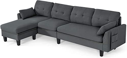 new arrival Giantex sale Reversible Sectional Sofa Couch 4-Seat, L-Shaped Couch with Storage Ottoman, Modern Linen Fabric Convertible Sofa Couch Set with Chaise Lounge for Living Room and Apartment (Dark 2021 Grey) online sale