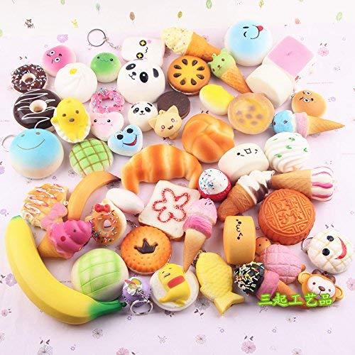 12 Stück Riesen Lebensmittel Squishy Charms – Jumbo Medium Mini Soft Panda Brot Brötchen Donuts – langsam steigende Stress Relief Spielzeug Paket – Handy Charm Schlüsselanhänger Strap