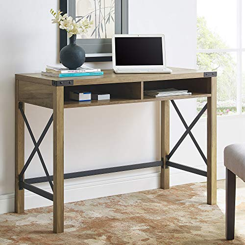 Walker Edison Furniture Company Rustic Modern Farmhouse Metal and Wood Laptop Computer Writing Desk Home Office Workstation Small, 42 Inch, Reclaimed Barnwood