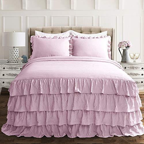 Lush Decor Purple Allison Ruffle Skirt Bedspread Shabby Chic Farmhouse Style Lightweight 3 Piece Set Full