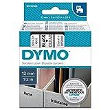 DYMO D1-Etiketten selbstklebend (schwarzer Druck auf transparentem Untergrund, 12 mm x 7 m, für LabelManager-Etikettendrucker, authentisches Produkt)