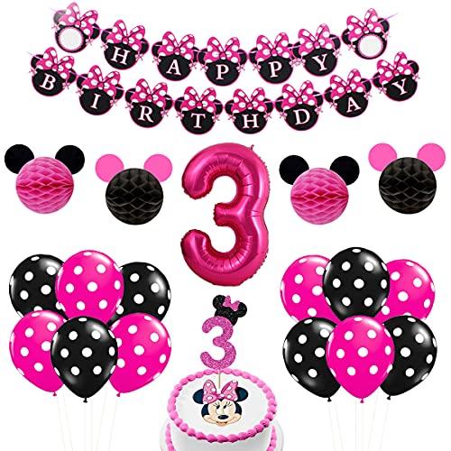 Minnie - Decoraciones para el tercer cumpleaños, suministros para fiestas, color rosa intenso para niñas de 3 años con pancarta de feliz cumpleaños, número 3, globo de papel de aluminio