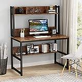 Tribesigns Home Escritorio Oficina Escritorio Mesa De Ordenador Mesa de Estudio con estantes de Conejera, 107x50x140cm (Marrón)