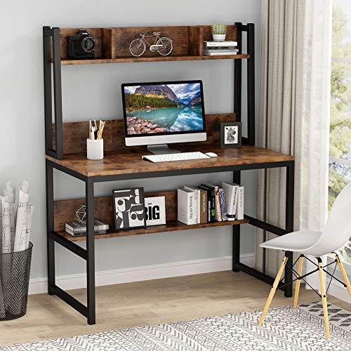 Tribesigns Computertisch Schreibtisch, Eckschreibtisch Vintage Home Office Schreibtisch mit Regalen für kleinen Raum, Holzoptik 107x 50 x140cm (Braun)