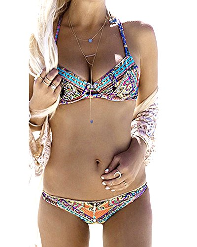 ZongSen Damen Elegant Bikini-Sets Neckholder Push-Up Bademode Zweiteilig Strandmode M