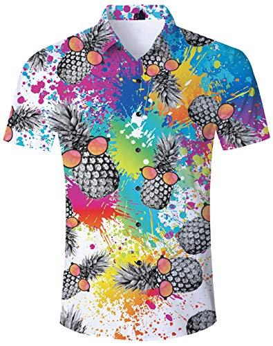 TUONROAD Hawaiihemden für Herren Ananas Hemd Hawai Hemd Herren Kurzarm 3D Ananas Herren Hawaiihemd Bunte Sommerhemden Kurzarm Ferien Shirt Freizeithemden L