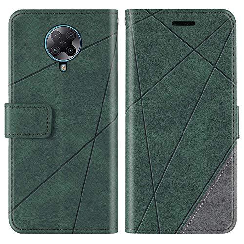 KKEIKO Funda para Xiaomi Redmi K30 Pro, cartera de piel sintética, funda con ranuras para tarjetas, carcasa de poliuretano termoplástico antigolpes para Xiaomi Redmi K30 Pro, color verde