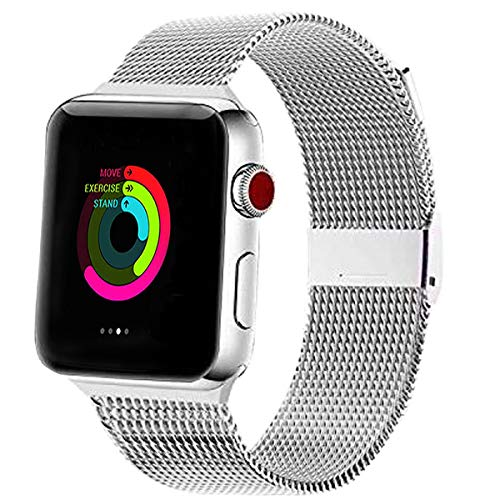 MNBVCXZ コンパチブル apple Watch バンド 38mm 40mm 42mm 44mm 交換 ベルトステンレスミラネーゼループ プ アップルウォッチ バンド 互換 Apple Watch SE, iWatch Series 6/5/4/3/2/1 (38mm/40mm, シルバー)