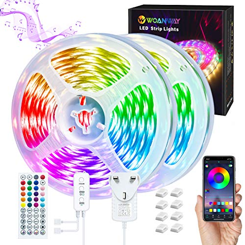 LED Strip Lights 10M, WOANWAY LED Lights Music Sync,Bluethooth RGB Lights with 44 Keys Remote,Control Box,APP Control,DIY Color Indoor Lights for Party,TV,Bedroom,Kitchen,Christmas.(3 Way Controls)…