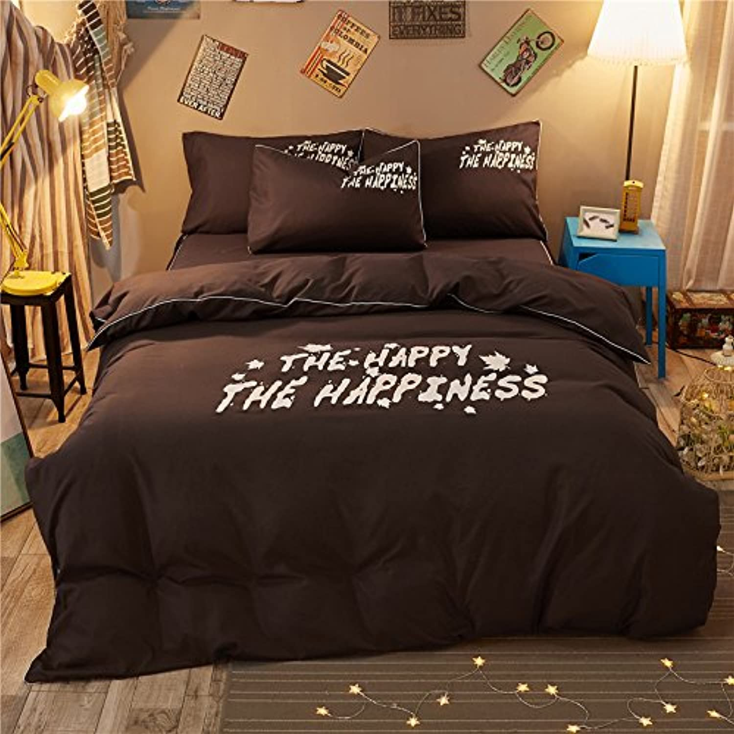 4pcs Solid Beddingset Duvet Cover Set Without Comforter Flat Bedsheet Pillowcase Durable YJ Twin Full Queen Happiness Design (Queen, Happiness, Coffee)