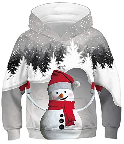 HAOSHENG Niños Niña 3D Sudaderas con Capucha Navidad Fiesta Fantasia Interesantes Sweatshirt Bolsillos de Mangas...