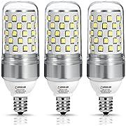 Light Bulbs Candelabra Base E12 LED, LOHAS Daylight 5000k White Light, 85W Equivalent(9W LED Bulb), Transparent Candle Ceiling Fan Lighting, 900 Lumens, Not-Dimmable Chandelier Light(Pack of 3)