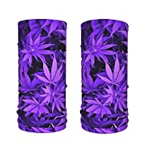 LKKPT Bufanda de Seda de Hielo púrpura Cannabis Weed Cooling Neck Polaina Pasamontañas Transpirable Pañuelo de protección Solar 2 Paquetes