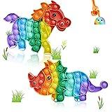 Kadunala 2 Pcs Pop It Dinosaure Cheval Among in Us Fidget Toy Pack,Popit Pas Cher Soulagement du Stress Silicone Soulagement de la Pression Jouets, Poppet Fidget Toys pour Enfants Enfants Adultes
