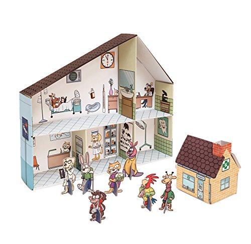 Small Foot 10764 Tierklinik aus bedruckter Pappe, Leichter und schneller Aufbau, inkl. Interieur zum Bekleben, aufstellbaren Puppen und Extra-Häuschen