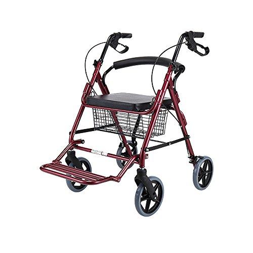 Everyday canne III- Anciano Andador/Seniors Cuatro Rondas Driving Vehicles Shopping Cart Aleación de Aluminio Polea con Asiento con Canasta Pedales Tamaño del caminador: 61 * 92