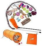 Toozey Katzen Spielzeug, Katzenspielzeug Set mit Katzentunnel, Bälle,...