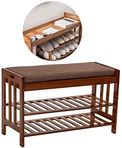 YLCJ schoenenbank van bamboe, schoenenkast met kussen en verborgen vak, slaapkamer in de entree (kleur simple 5)