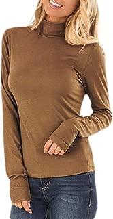 Women Long Sleeve Stretchy Tshirt Slim Fit Mock Turtleneck Comfy Tee Tops