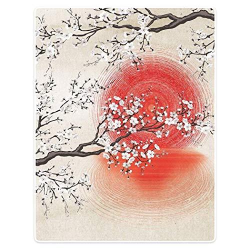 Bernice Winifred Decke Komfort Wärme Weiche Gemütliche Klimaanlage Pflegeleichte Maschinenwäsche Sakura-Zweige Japanische Sonne und Reflexion(40×30
