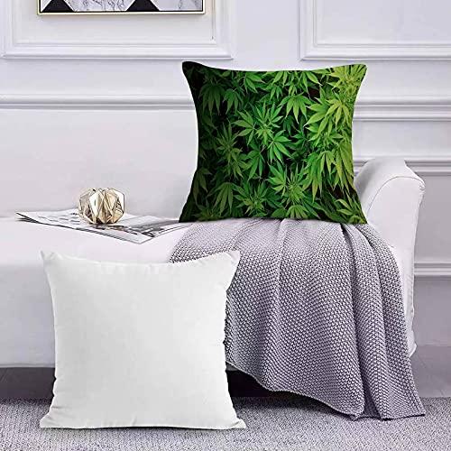 Funda de Cojín Funda de Almohada del Hogar Patrón de Hojas de Marihuana Verde Sofá Throw Cojín Almohada Caso de la Cubierta para 45x45cm