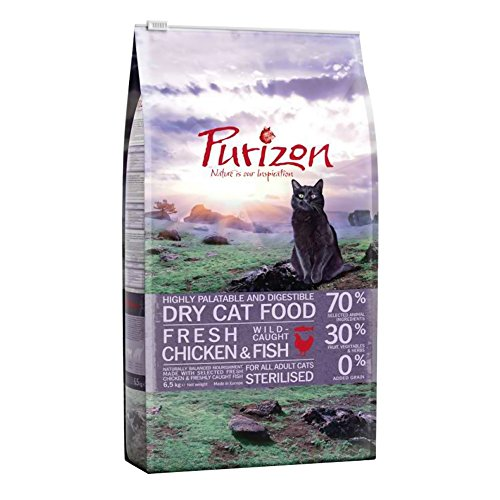 Purizon Trockenfutter für ausgewachsene, sterilisierte Katzen - Huhn und Fisch (6,5 kg)