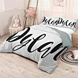 prunushome Dylan 3 Piece Duvet Cover Comforter Set Monochrome Arrangement of Letters Stylized Font Design Hand Drawn Typography Set-(1Comforter Cover 2Pillow Shams) Black and White California King