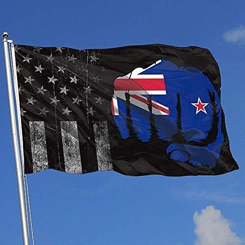 Elaine-Shop buitenvlaggen versleten VS-vlag, blauwe lijn, rechtsvervolging, Nieuw-Zeelandse vlag, 4 x 6 voetvlag, voor wooncultuur, sportfan, voetbal, basketbal, baseball, hockey