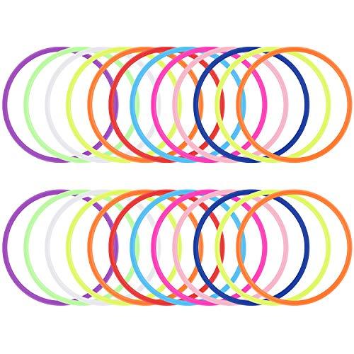 24 Piezas de Neón Pulseras de Goma Pulseras de Silicona 80s Accesorios de Disfraces